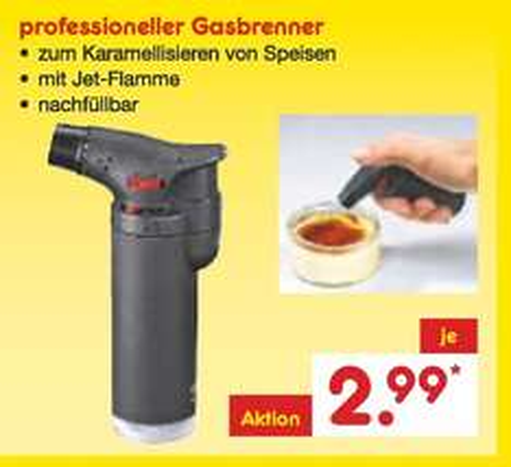 [Netto MD] Gasbrenner für Silvester/Crème brûlée 2,99€