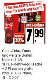 Coca Cola, Fanta, Mezzo-Mix, Kiste + 2 Flaschen gratis bei Edeka für 7,99€