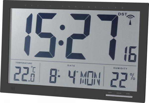 [2% Qipu] JUMBO Funk-Wanduhr mit Thermo-Hygrometer (370 mm x 230 mm x 30 mm) in schwarzfür 47,99€ VSK-frei @Völkner