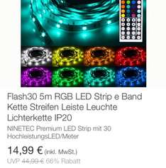 EBay Wow 5m Ninetec LED RGB Strip / Idealo 28,99