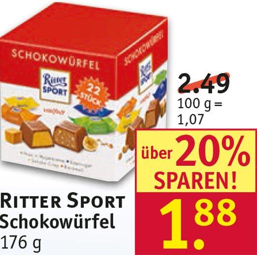 [Rossmann] Ritter Sport Schokowürfel  für nur 1,88 €