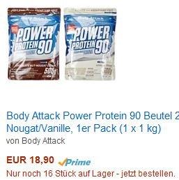 [Amazon.de] Body Attack Power Protein 90 Beutel 2er Mix: 18,90 €/kg