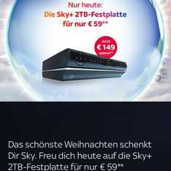 Nur heute die Sky+ 2TB- Festplatte nur 59€ + 12,90 Versand statt 208€