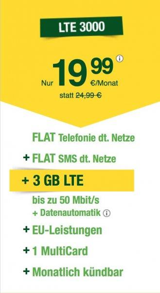 Allnetflat + 3GB LTE bei 50MBits/s + monatlich kündbar