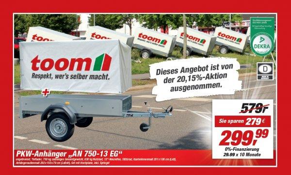 PKW-Anhänger AN 750-13 EG inklusive Hochplane und Spriegel für 299,99 EUR @Toom Bremen-Blumenthal