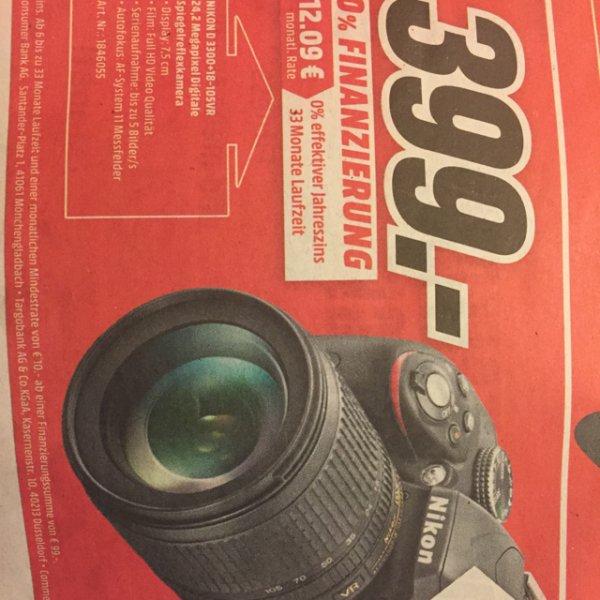[lokal MediaMarkt Frankfurt-Borsigallee] Nikon D3300 Kit 18-105mm, Tasche
