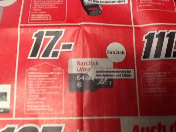 [MM bundesweit] - SanDisk Ultra microSDXC 64GB für 17€