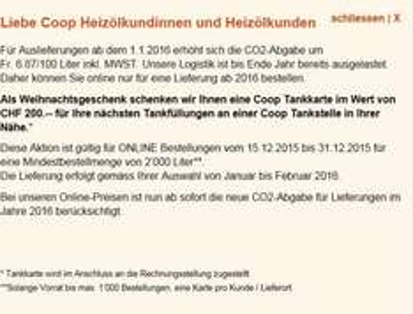 200.- Tankkarte bei Heizoelbestellung von 2000 liter bei COOP Schweiz