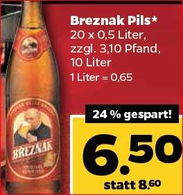 [Filialen von Netto.de] nur Heute: Breznak Böhmisch Pils 20*0,5L in Glasflaschen