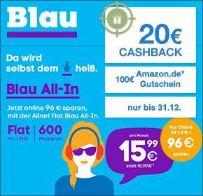 [QIPU] Blau.de All-In für eff. 10,99€ (E-Plus Netz, Flat Telefonie & SMS, 600MB bei 21,6 Mbit/s, 20€ Cashback, 100€ Amazon-Gutschein)