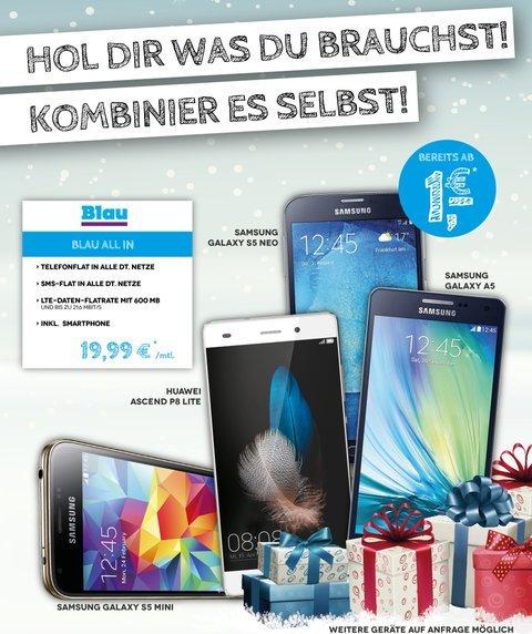 Blau All-in (O2-Netz) - Flat Festnetz/Handy/SMS + 600MB 21,6MBit/s - 7,07€/Mon