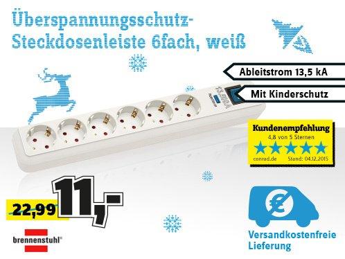 Conrad: Brennenstuhl Überspannungsschutz-Steckdosenleiste 6fach Weiß Schutzkontakt für 11 €