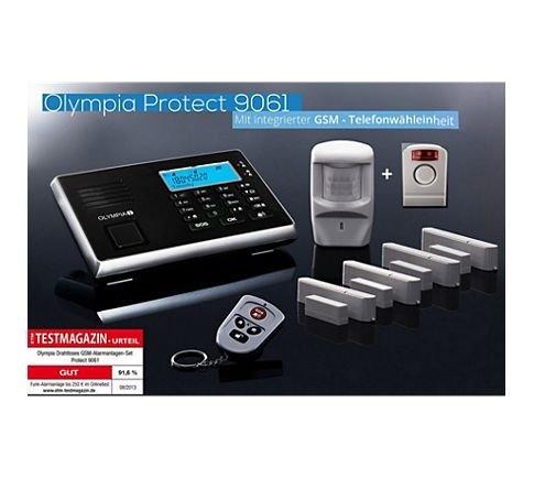 [Plus] Olympia Protect 9061S GSM Funk Alarmanlage Super-Set mit Außensirene, Bewegungsmelder, Tür Fenster/Kontakten und Fernbedienung mit GSM Telefonwähleinheit - wieder da ! -