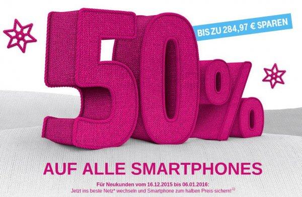 Für T-Mobile Neukunden: 50 % auf alle Smartphones im Vertrag: Bis zu 284,97 € sparen