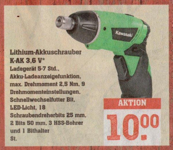 [DARMSTADT] Rewe Center: Kawasaki K-AK 3,6V Lithium-Akkuschrauber mit LED-Licht, 18x Schraubendreherbits 25mm, 2x Bits 50mm und 3x HHS-Bohrer für 10,00€ (Idealo: 21,98€)