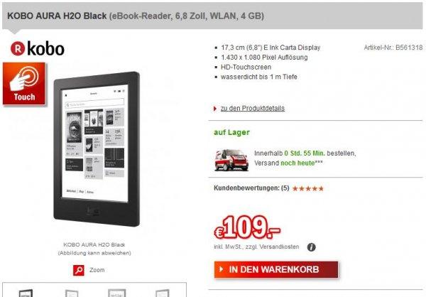 Kobo Aura H2O eBook Reader [Redcoon] 114,99€ inkl. Versand