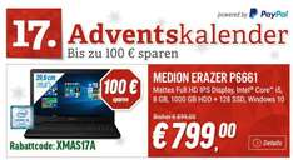 "Notebooksbilliger: Gaming-Notebook MEDION ERAZER MD99506 15,6"" Full HD IPS/ Intel Core i5-6200U/ 8GB RAM/ 1000GB + 128GB SSD/ GeForce GTX 950M/ Win10 - 799€ exkl. Versand (Gutscheincode: ""XMAS17A"")"