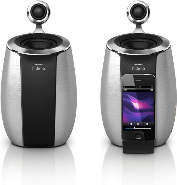 [Amazon] Philips DS6600/10 Fidelio 2.0 Docking-Lautsprecher für Apple iPod/iPhone, 50 Watt RMS, silber/schwarz