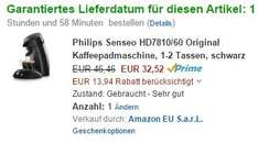 Philips Senseo HD7810/60 Original Kaffeepadmaschine (Amazon WHD - 30% Rabatt - Zustand Sehr Gut!)