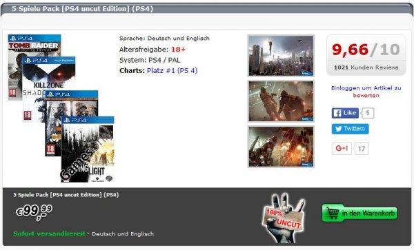 5 Spiele Pack [PS4 uncut Edition] -  Bundle bestehend aus Dying Light [uncut Edition] (PS4) Metro Redux: Metro Last Light + Metro 2033 [uncut Edition] (PS4) Killzone: Shadow Fall [uncut Edition] (PS4) Tomb Raider [Definitive Edition uncut] (PS4)