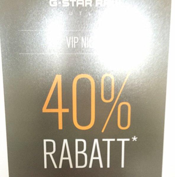 GStar Outlet 40% auf alles auch auf reduzierte Ware Lokal Stelle/HH VIP Night nur heute bis 22 Uhr