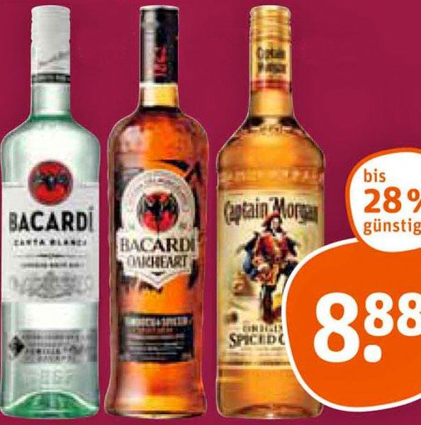 [tegut] Captain Morgan Spiced Gold Rum und Bacardi Rum Oakheart ab 21.12. für nur 8,88€