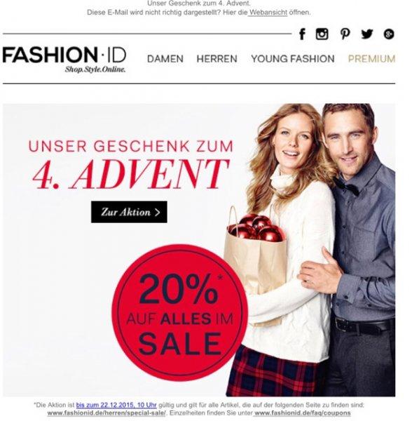 Fashion ID 20% auf alles SALE ARTIKEL + Versand frei