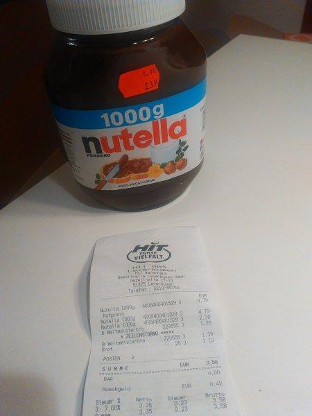HIT Leverkusen Nutella 1000g für 2,39€