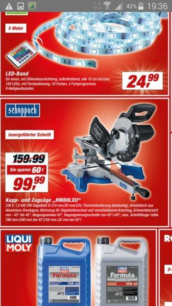 (Toom) Zug- und Kappsäge Scheppach Hm80LXU für 99,99 Euro