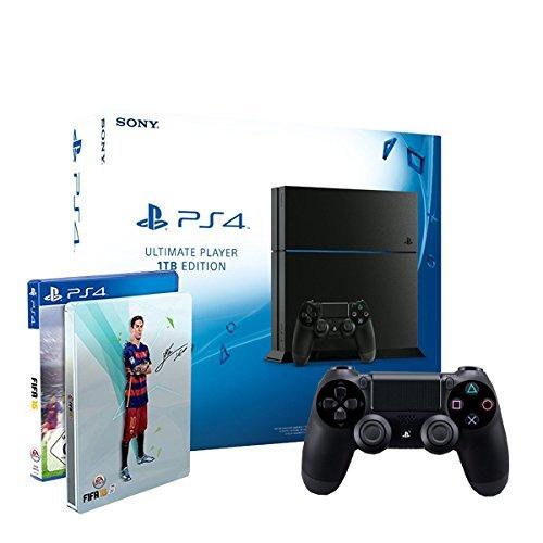 PlayStation 4 1TB inkl. 2x DualShock Controller + FIFA 16 - Steelbook Edition [CUH-1216B]