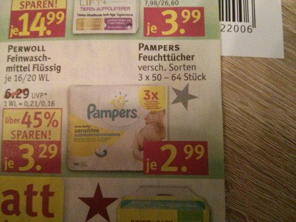 Rossmann: Pampers Feuchttücher 3er Pack für 0,89€