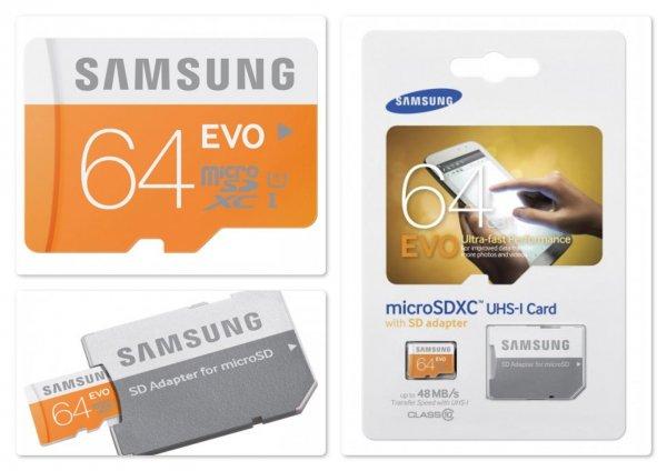 SAMSUNG micro SDXC EVO 64GB Class 10 inklusive Adapter @Mediamarkt