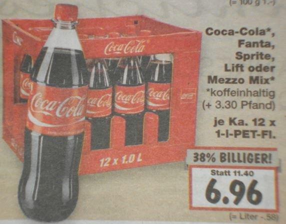 [KAUFLAND] Coca Cola, Fanta, Sprite, Mezzo Mix pro Kasten (12 x 1Liter) = 6,96 Euro