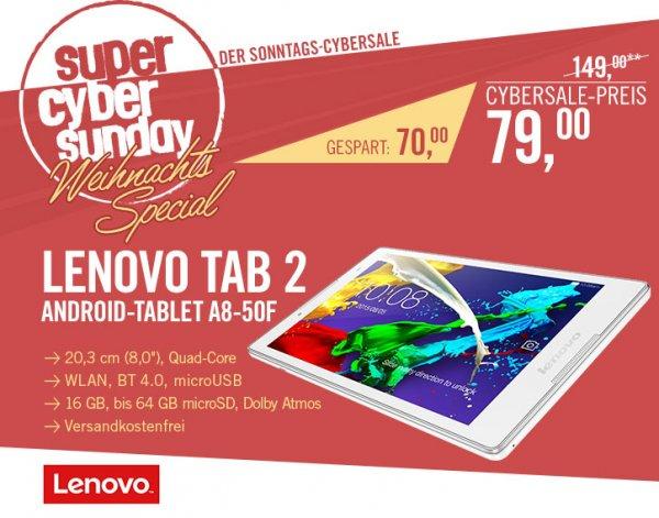 [Cyberport.de] Lenovo Tab 2 A8-50F in Weiß / 8Zoll HD IPS / 1,3GHz QuadCore / 1GB RAM / 16GB ROM (+microSD) /Android 5 / für 79€