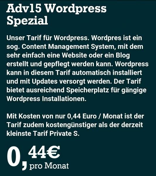 NetCup-Tarif 0,44€ / Monat, mit Wordpres für Blogs usw.