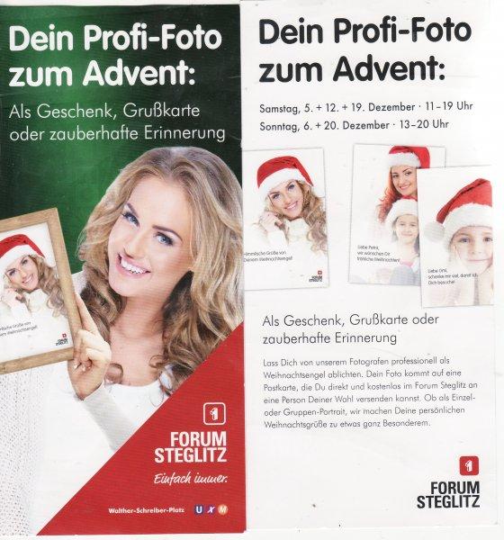 Lokal Berlin: Foto als Weihnachtsengel als kostenlose Postkarte im Forum Steglitz heute von 13 - 20 Uhr