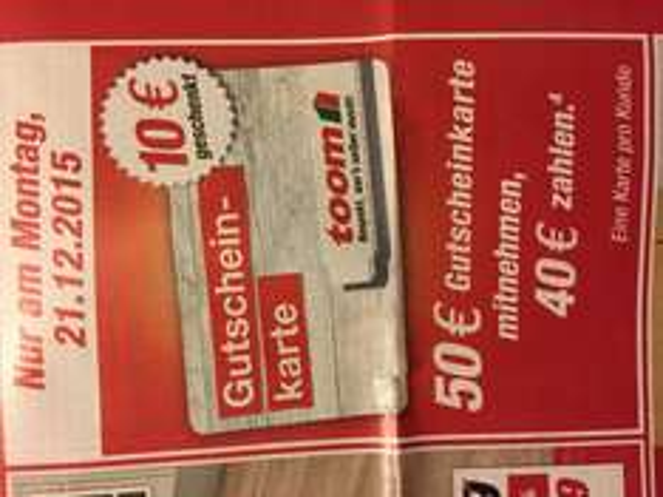 Toom 50€ Gutscheinkarte für 40€