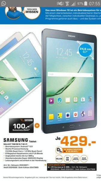 Galaxy Tab S2 Saturn mit 100 Euro Gutscheincard