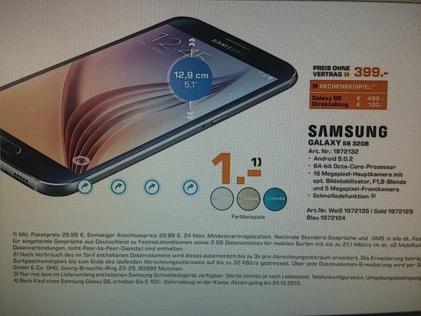 Samsung Galaxy S6 32GB 399.- bei Saturn [lokal Mainz] aber auch Online mit Hotlinegespräch