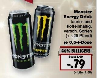 [Kaufland] Monster Energy Drink - verschiedene Sorten (0,5l) für 0,79€ zzgl Pfand