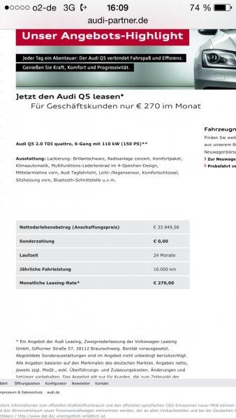 Top!!! Audi Q5 2.0 TDI mit 150 PS für nur 270 Euro im Monat leasen - für Gewerbekunden!!