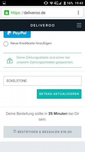 Deliveroo 10€ Gutschein für Neukunden