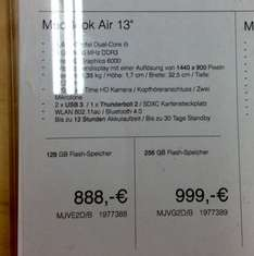 Lokal: Media Markt Waltersdorf MacBook Air, 13 Zoll, 2015