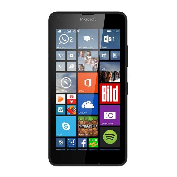 Microsoft Lumia 640 Dual-SIM LTE Smartphone (12,7 cm (5 Zoll) HD-IPS-Display, 1,2 GHz-Quad-Core-Prozessor, 8 Megapixel-Kamera, 2500 mAh Akku, 3G & 4G LTE, Dual-SIM, Windows Phone 8.1) schwarz für 154,89 € @ Amazon.de