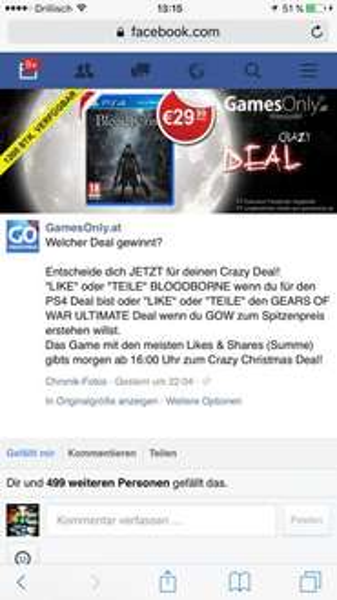 Bloodborne 29,99€ PS4 heute ab 16:00 1.200 Stück limitiert!!!