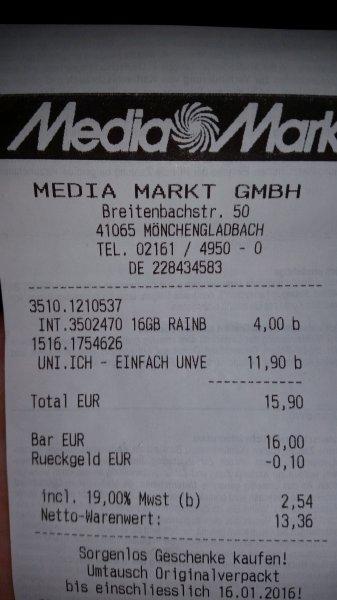 (Lokal Mönchengladbach?) Media Markt INTENSO Rainbow Line 16 GB USB Stick schwarz