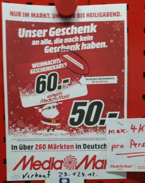 [Offline] Media Markt 60€ Geschenkkarte für 50€