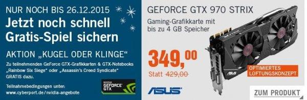 Schnäppchen machen Asus GTX 970 Strix DC2OC-4GD5 bei Cyberport im Cyberdeal