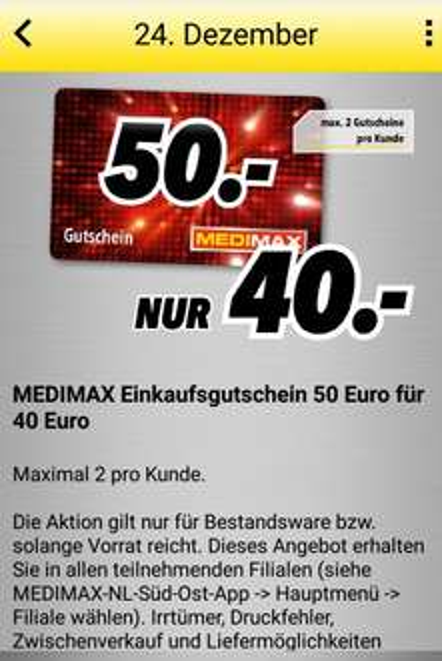 [Lokal, MEDIMAX Süd-Ost] MEDIMAX Einkaufsgutschein 50€ für 40€ (max. 2 pro Kunde) Nur am 24. DEZEMBER