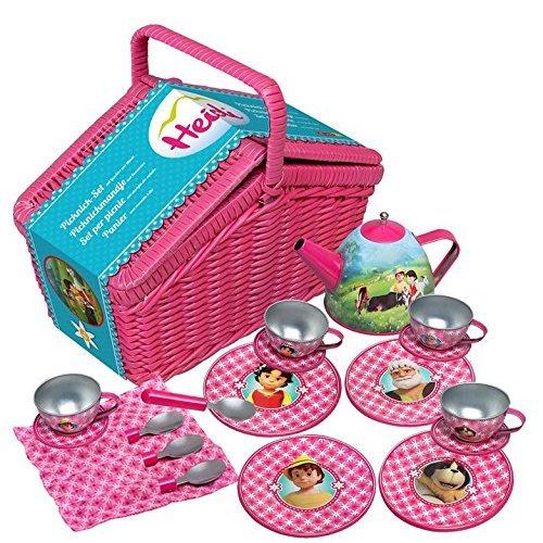 Heidi - Picknick-Set mit Geschirr aus Metall im Korb